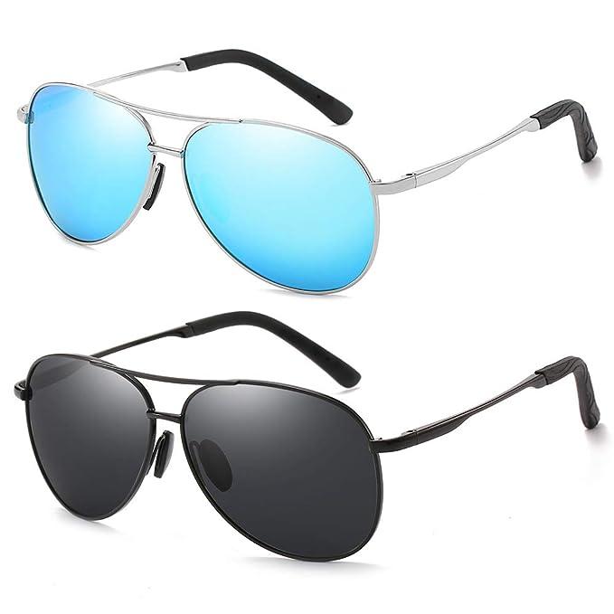 2308d8173fa Polarized Aviator Sunglasses for Men and Women-100 UV Protection Mirrored  Lens -Metal Frame