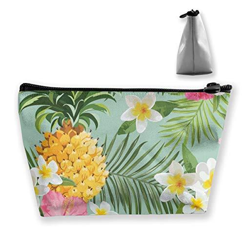 MODREACH Hawaiian Pineapple Flowers Floral Pencil Case Pen Zipper Bag Coin Organizer Makeup Costmetic Storage Bag Pouch