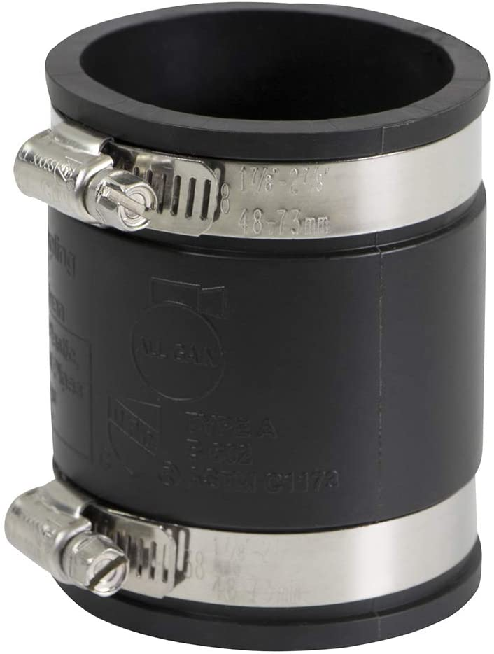 SUPPLY GIANT 6I47 Flexible PVC Coupling With Stainless Steel Clamps, 2 inch, Black