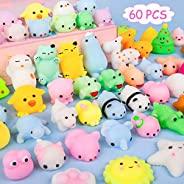 Kizcity 60 Pcs Mochi Squishies, Kawaii Squishy Toys for Party Favors, Animal Squishies Stress Relief Toys for