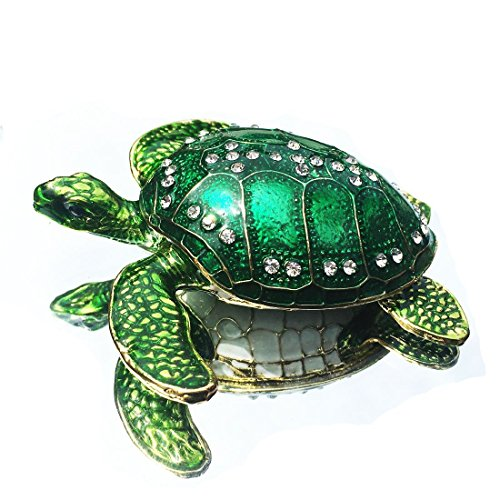 - Waltz&F Sea Turtle Crystal Studded Pewter Jewelry Trinket Box Bejeweled Hand-painted Ring Holder Mother`s day Gift