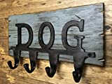 DOG LEASH Hooks for Wall *COAT Holder *Key rack for''DOG'' leashes jacket coats clothes shirts sweaters *Rustic Wood with Metal Hooks -Country Distressed Decor - Antique Cream Red White Blue * 13 X 7.5