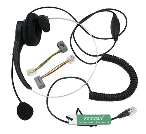 SUNDELY® Single Ear Boom Mic Headphone with Volume Control 4-pin RJ9 Modular Connector for Telephone /IP Phone Siemens/ROLM SNOM Technology Spring TalkSwitch Toshiba Ulytel Uniden