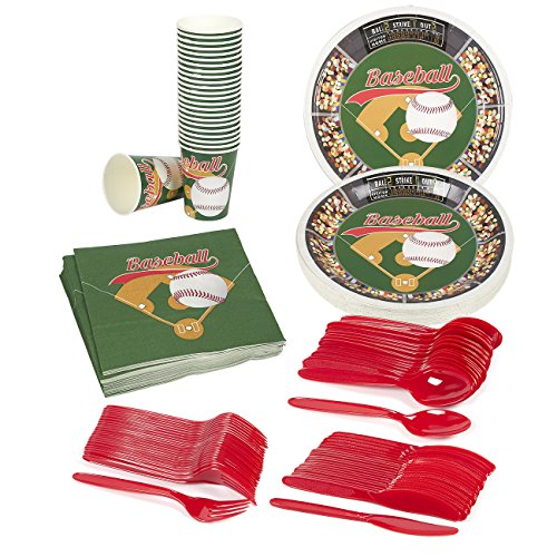 Baseball Party Supplies – Serves 24 – Includes Plates, Knives, Spoons, Forks, Cups and Napkins. Perfect Baseball Birthday Party Pack for Kids Baseball Sport Themed Parties. -