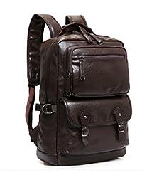 Laptop Backpack Genuine Leather 15.6 inch Men Women Notebook Vintage School Travel Bags (Brown)