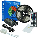 RC LED Strip lights 16.4ft Waterproof Flexible SMD5050 300LEDs with 44Key Remote 12V Power Adapter for Home and Outdoor