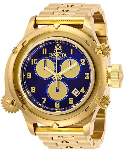 INVICTA Russian Diver Men Quartz 52mm Goldtone Stainless Steel, Blue dial Watch