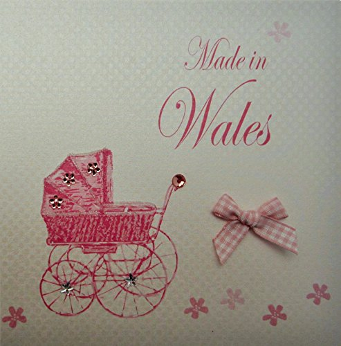 (white cotton card Made in Wales Handmade New Baby Town Card with Pink Pram)