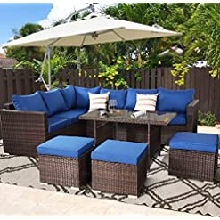 Garden and Outdoor Outime Patio Furniture Garden Dinning Sectional Sofa Brown Wicker Conversation Set Outdoor Indoor Use Couch Set Royal… outdoor lounge furniture