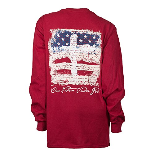 - Southern Couture SC Classic One Nation Under God Longsleeve Classic Fit Adult T-Shirt - Cardinal Red, Medium