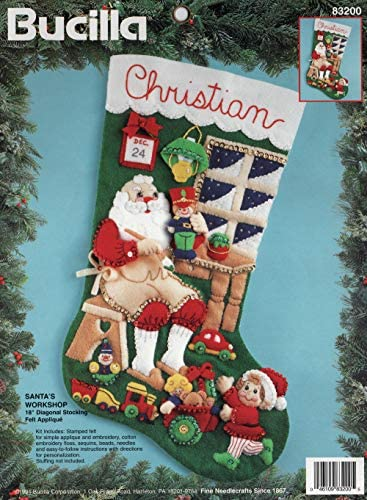 Bucilla 18-Inch Christmas Stocking Felt Applique Kit 86202 Patchwork Santa