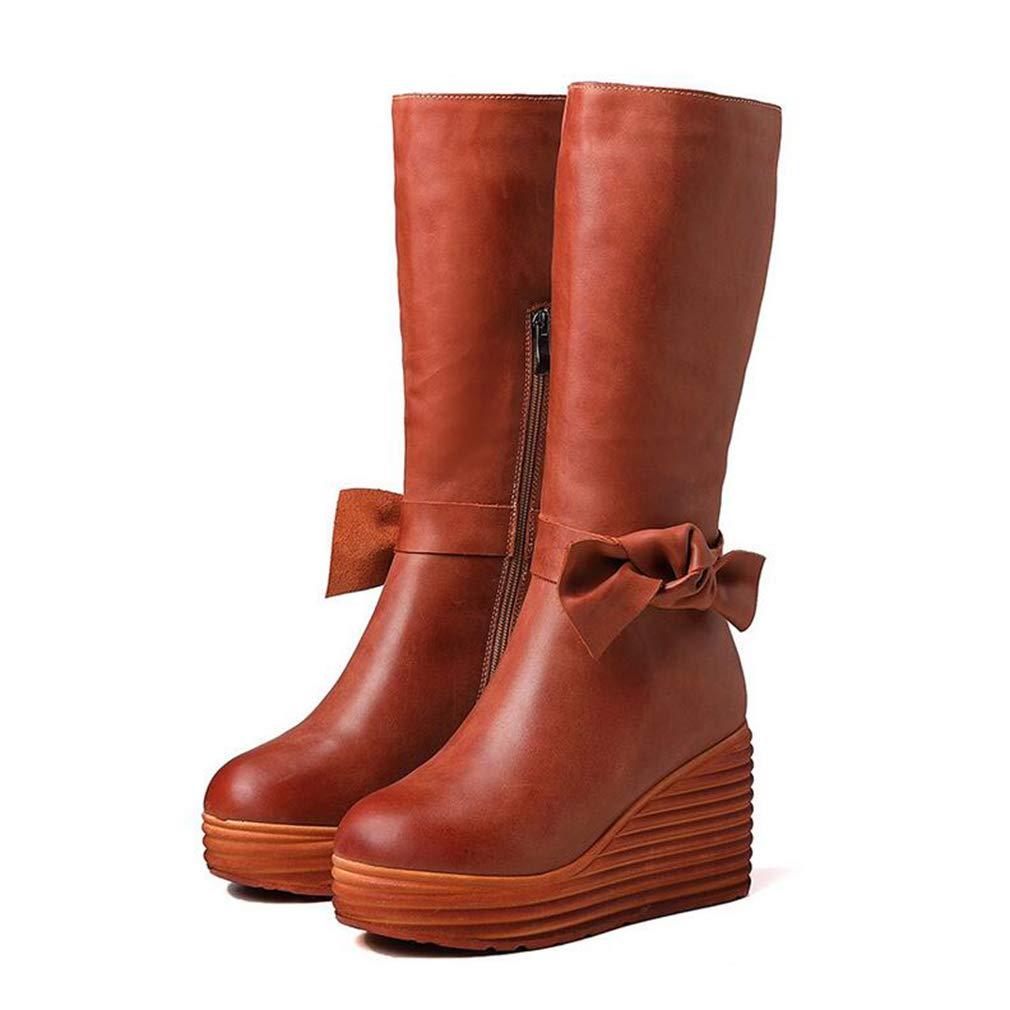 Hy Damen Lange Stiefel, Leder Frühjahr Herbst Komfort Dicke untere Ritter Stiefel, Flache Damen Slip-Ons hohe Stiefel, Martins Stiefel (Farbe   Caramel, Größe   40)
