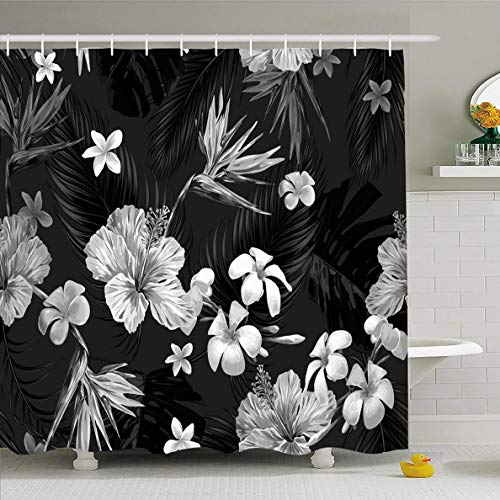 - Ahawoso Shower Curtain 60x72 Inches Hibiscus Black Floral Pattern Tropical Flower Miami White Hawaiian Dark Palm California Waterproof Polyester Fabric Set with Hooks