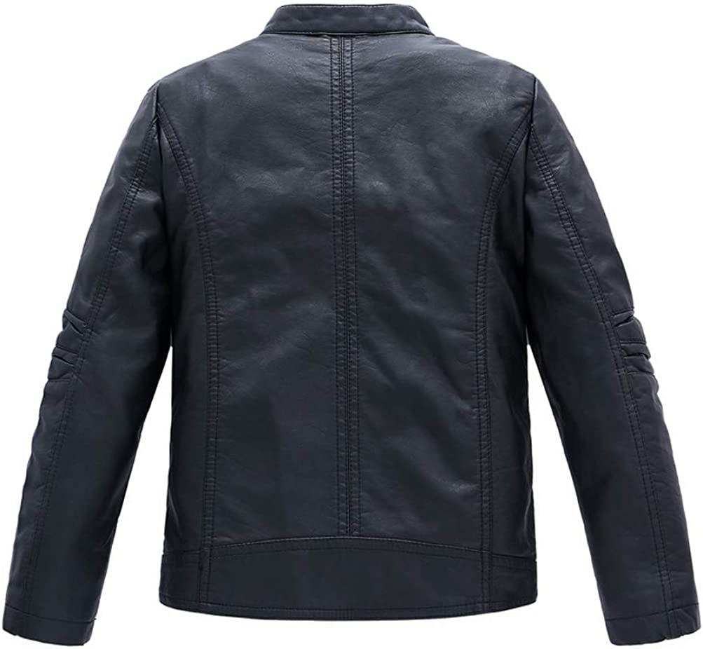 LOKTARC Boys Stand Collar Faux Leather Coat Motorcycle Jacket: Clothing