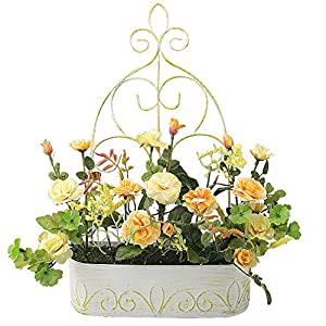RERXN Europern Pastoral Artificial Flower in Iron Basket Silk Rose with Hanging Rack Indoor Outdoor Home Wedding Decor 5