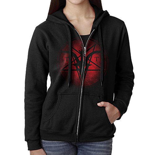 Blingerstore Casual Womens Evil Satanic Temple Logo Full-Zip Sweatshirt Hoodie Jacket Medium
