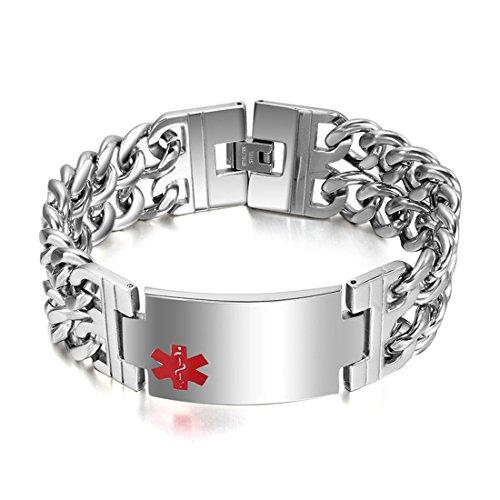DIB Free Engraving Wide Stainless Steel Medical Alert ID Bracelets Men Silver, 8.9inch ()