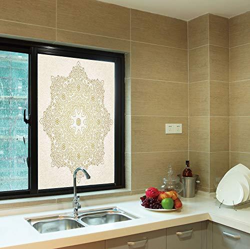 YOLIYANA No Glue Window Film,Gold Mandala,for Window Moving Glass Door,Antique Lace Pattern Blooming Asian Garden Theme ()