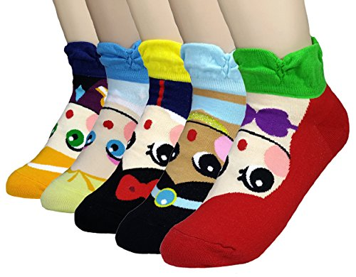 JJMax Girls Princess Series Character Socks: Elsa, Anna, Ariel, Snow White, Jasmine (7 to 9 years old, 5 Princess Set) (Kids Woven Socks)
