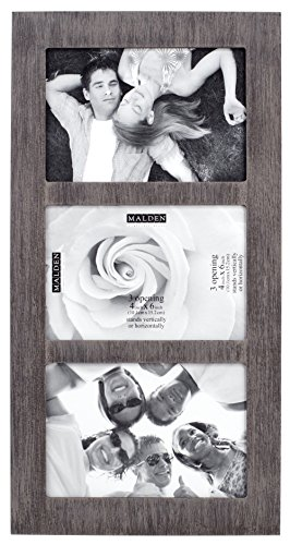Malden International Designs Distressed Wood Collage Picture Frame, 3 Option, 3-4x6, Rough 3-OP. 4X6 Gray Ridge Linear ()