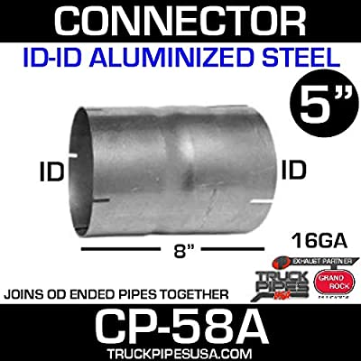 "5"" ID/ID Exhaust Pipe Coupler 8"" Long Aluminized CP-58A: Automotive"