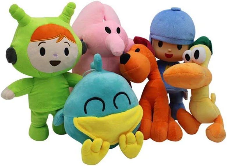 XFei Pocoyó y Sus Amigos Mini Felpa Personajes Juguetes Peluches Figura Suave Colección de Anime Juego de Juguetes de 6 - Pocoyó, Pato, Loula, Elly, Sleepy Bird & Girl