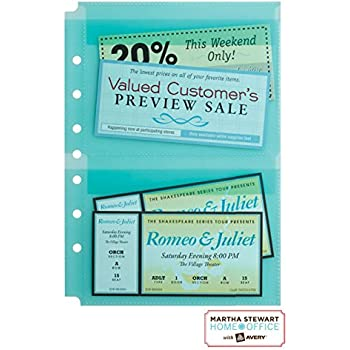 "Martha Stewart Home Office™ with Avery™ Secure-Top™ Sheet Protectors, 2 Pockets, Teal, 5-1/2"" x 8-1/2"", Pack of 5 (14533)"
