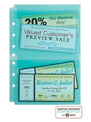 Martha Stewart Home Office with Avery® Secure-Top Sheet Protectors, 5-1/2 x 8-1/2 Inch, Blue, 5 Pack
