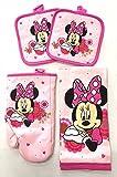 Disney Junior Minnie 4 pc Kitchen Set - Kitchen Towel, Oven Mitt & 2 Pot Holders