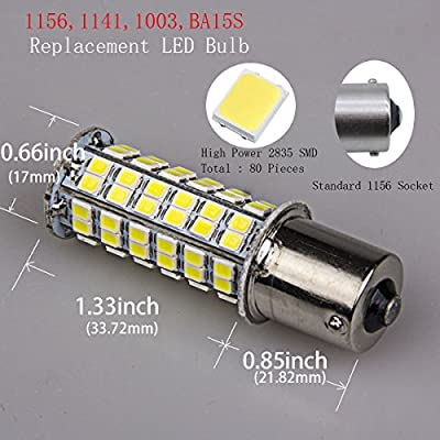 5 x 1141 Interior Light Bulbs Replacement BA15S 1156 80 SMD LED 1003 900 Lumens RV Turn Signal Backup Reverse,Xenon White: Automotive