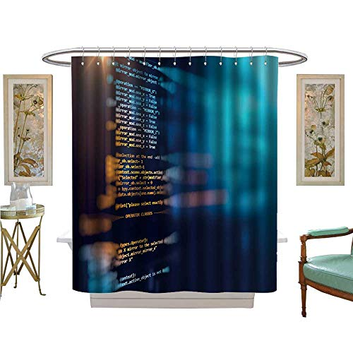 luvoluxhome Shower Curtains Sets Bathroom Programm Code Technology Background of Software deve Custom Made Shower Curtain W69 x ()