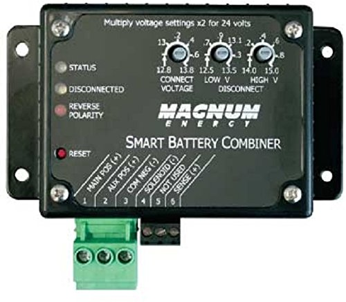 - Magnum Energy ME-SBC Smart Battery Combiner, Auto-Detect 12 or 24 VDC, Transfers up to 25 Amps