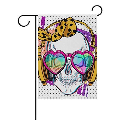 Cute Halloween Skull Hippie Music Garden House Flag Yard Banner for Outside Flower Pot Double Side Print ()