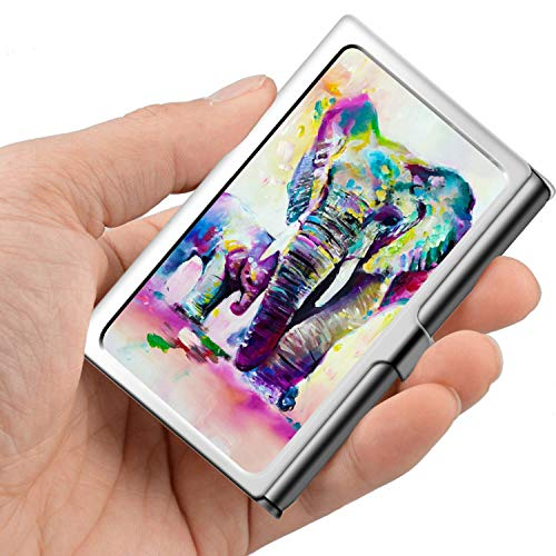 Professional Business Card,Stainless Steel Wallet case Credit Card ID Card Holder Elephant Painting - Elephant Card Holder
