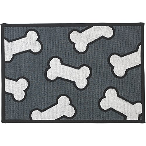 PetRageous Designed Tapestry Placemat for Pet Feeding Station, 13-Inch by 19-Inch, Scattered Bones, Dark Gray/White