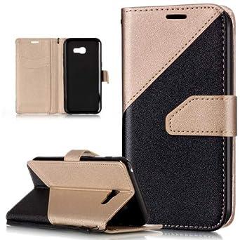 Kompatibel mit Galaxy A5 2017 Hülle Schutzhülle,Schlagfarbe Nähte Spleiß Stil Naht Farben PU Lederhülle Flip Hülle Handyhülle