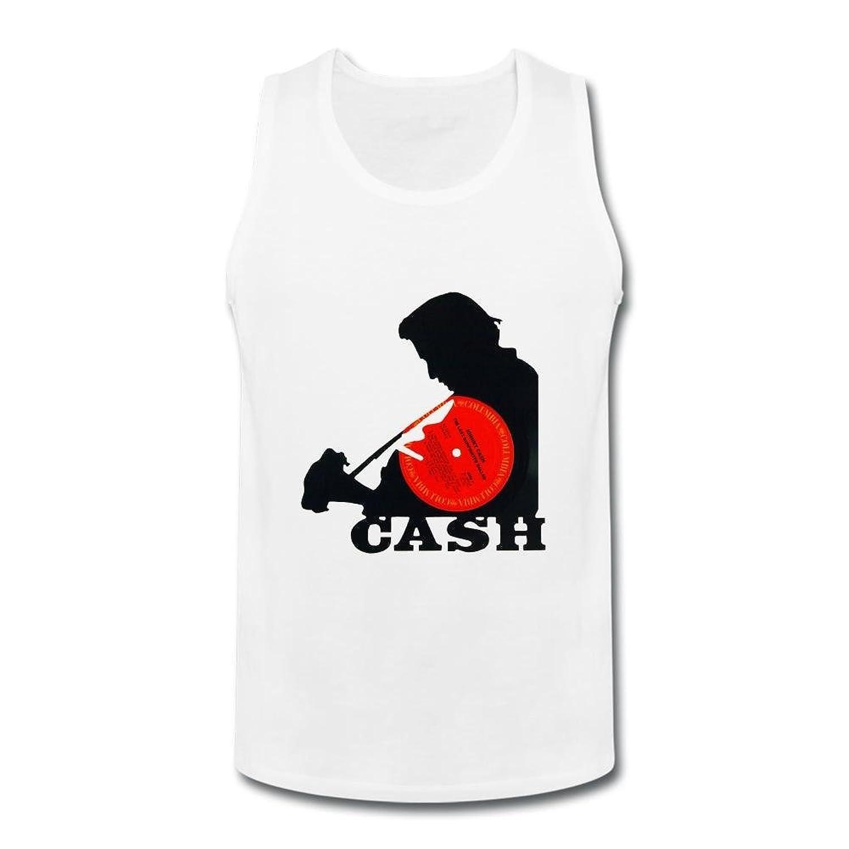 OULIN Men's Johnny Cash Symbol Vest White XXXL