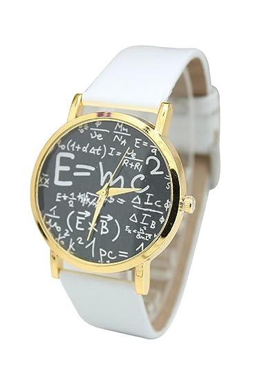 Reloj de pulsera - SODIAL(R)Reloj de pulsera unisex de cuero de imitacion de simbolo matematico de color blanco: Amazon.es: Relojes