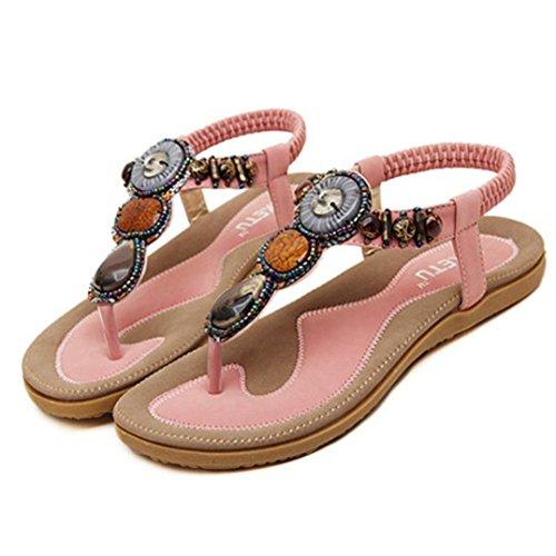 a596ca545add1 ZycShang Women Sandals Fashion Sweet Beaded Clip Toe Flats Bohemian  Herringbone Sandals Size 5.5-11