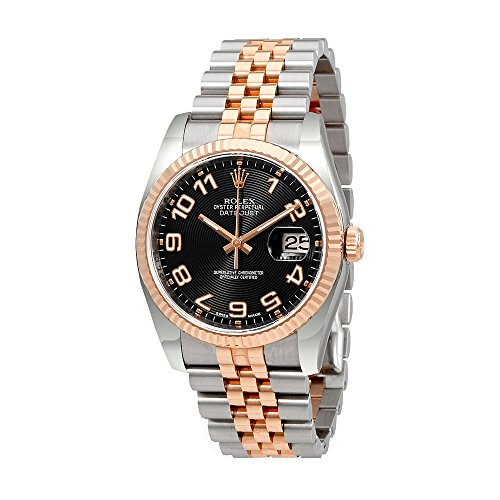 Rolex Oyster Perpetual Datejust 36 Black Concentric Dial Stainless Steel and 18K Everose Gold Rolex Jubilee Automatic Mens Watch 116231BKCAJ