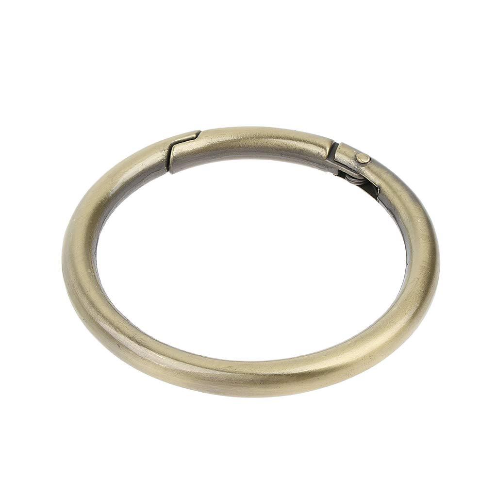Baoblaze 5 Pieces Zinc Alloy Round Carabiners Spring Push Open Buckles Snap Hook Keychain Clip