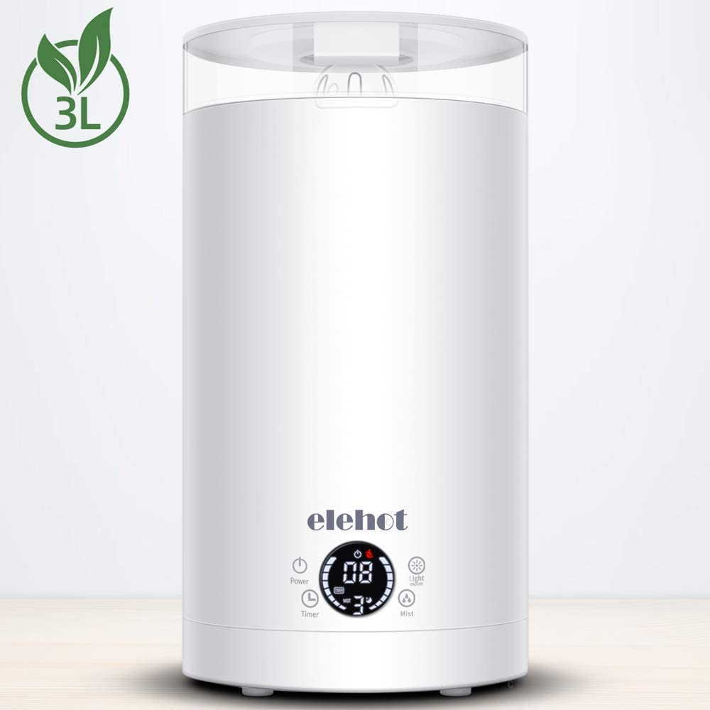 ELEHOT Humidifiers for Bedroom Cool Mist Humidifiers Large Room 3 Levels Adjustable Mist Mode with 7 Colors Light and Top Fill Water 3L