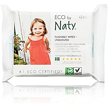 Naty by Nature Babycare Eco Baby Flushable Wipes, Unscented, 12 Counts of 42 (504 wipes)