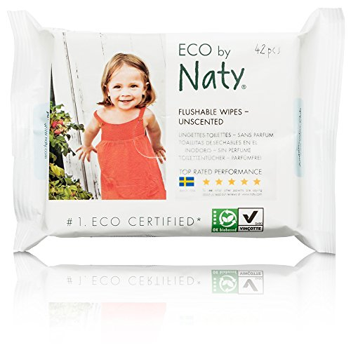 Naty by Nature Babycare Eco-Friendly Flushable Baby Wipes, Unscented, 12 Counts of 42 (504 wipes)