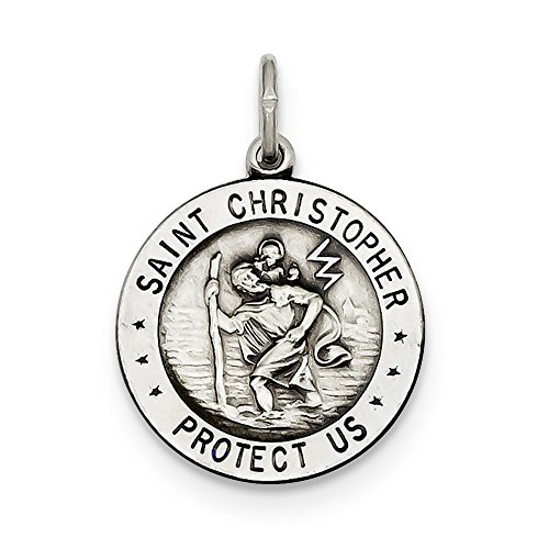 (Sterling Silver Solid Satin Reversible Antique finish St. Christopher Medal Charm Basketball)