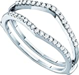 14kt White Gold Womens Round Diamond Ring Guard Wrap Enhancer Wedding Band 1/4 Cttw (I1-I2 clarity; H-I color)