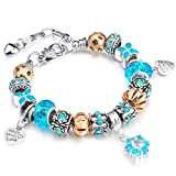 YYcharm Love Heart Charm Bracelet with Silver Plated Glass Crystal Beaded Charm, Fashion Jewelry