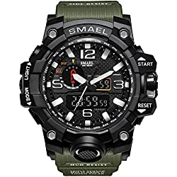SMAEL men's sports watch outdoor waterproof watch double electronic quartz movement backlit army (Army Green)