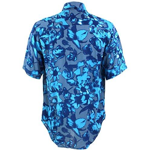 Loud Originals Regular Fit Hemd mit kurzen Ärmeln - blau Blumenmuster auf grau