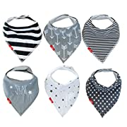 Drool Bibs (6 Pack) Unisex Baby Bandanas | Monochrome Design For Girl or Boy | Newborn to Toddler by oak + mini